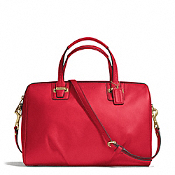 COACH TAYLOR LEATHER SATCHEL - BRASS/CORAL RED - F25296
