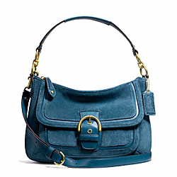 COACH CAMPBELL SUEDE SMALL CONVERTIBLE HOBO - BRASS/TEAL - F25302