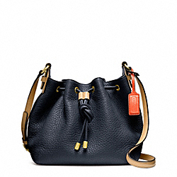 COACH SOFT PEBBLED LEATHER DRAWSTRING CROSSBODY - BRASS/MIDNIGHT - F25305