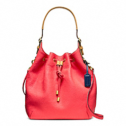 COACH PEBBLED LEATHER SOFT DRAWSTRING SHOULDER BAG - LIGHT GOLD/PARCHMENT - F25306