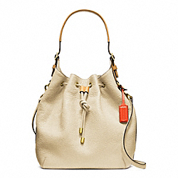 COACH PEBBLED LEATHER SOFT DRAWSTRING SHOULDER BAG - BRASS/IVORY - F25306
