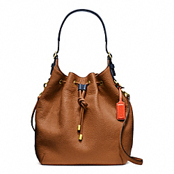 COACH SOFT PEBBLED LEATHER DRAWSTRING SHOULDER BAG - BRASS/SADDLE - F25306