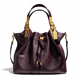 COACH SOFT DRAWSTRING XL SHOULDER BAG IN PEBBLED LEATHER - BRASS/EGGPLANT - F25307