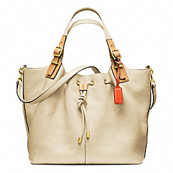 COACH PEBBLED LEATHER SOFT DRAWSTRING XL SHOULDER BAG - BRASS/IVORY - F25307