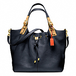 COACH SOFT PEBBLED LEATHER DRAWSTRING XL SHOULDER BAG - BRASS/MIDNIGHT - F25307