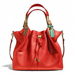 COACH SOFT DRAWSTRING XL SHOULDER BAG IN PEBBLED LEATHER - BRASS/VERMILLION - F25307
