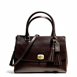 COACH PINNACLE HARPER TRIPLE ZIP SATCHEL IN POLISHED LEATHER - ONE COLOR - F25316