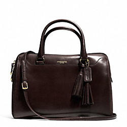 COACH PINNACLE LARGE HALEY SATCHEL IN POLISHED LEATHER - CHOCOLATE - F25319