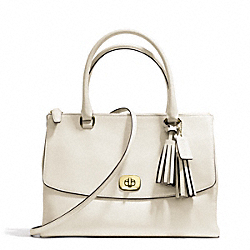 LEATHER LARGE HARPER TRIPLE ZIP SATCHEL - f25356 - BRASS/WHITE