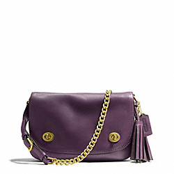 COACH DOUBLE GUSSET FLAP - BRASS/BLACK VIOLET - F25361