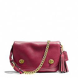 COACH DOUBLE GUSSET FLAP - BRASS/DEEP PORT - F25361