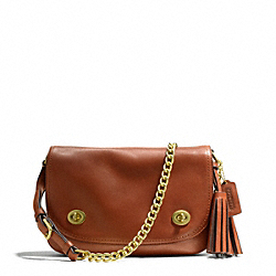COACH DOUBLE GUSSET FLAP - BRASS/COGNAC - F25361