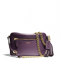 LEATHER FLIGHT BAG - f25362 - BRASS/BLACK VIOLET