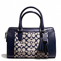 COACH NEEDLEPOINT SIGNATURE HALEY SATCHEL - SILVER/NAVY - F25373