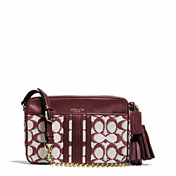 COACH NEEDLEPOINT SIGNATURE FLIGHT BAG - BRASS/BORDEAUX - F25376