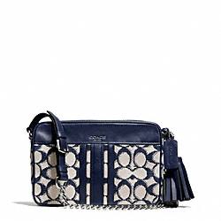 COACH NEEDLEPOINT SIGNATURE FLIGHT BAG - SILVER/NAVY - F25376