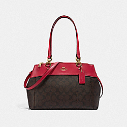 BROOKE CARRYALL IN SIGNATURE CANVAS - BROWN/TRUE RED/LIGHT GOLD - COACH F25396