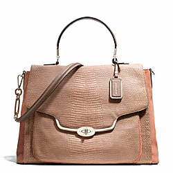 COACH MADISON NUBUCK AND LIZARD EMBOSSED LARGE SADIE FLAP SATCHEL - LIGHT GOLD/TEAROSE 2 - F25423