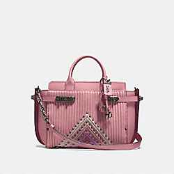 COACH DOUBLE SWAGGER WITH COLORBLOCK QUILTING AND RIVETS - DUSTY ROSE MULTI/BLACK COPPER - COACH F25490