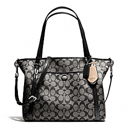 COACH PEYTON SIGNATURE POCKET TOTE - SILVER/BLACK/WHITE/BLACK - F25504