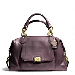 COACH CAMPBELL TURNLOCK LEATHER LARGE SATCHEL - BRASS/PLUM - F25508