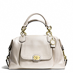 CAMPBELL TURNLOCK LEATHER LARGE SATCHEL - BRASS/PEARL - COACH F25508