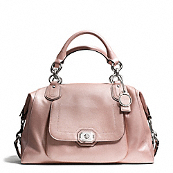 CAMPBELL TURNLOCK LEATHER LARGE SATCHEL - f25508 - SILVER/BLUSH