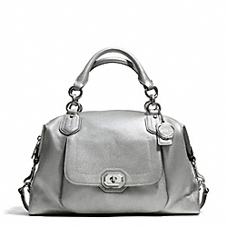 COACH CAMPBELL TURNLOCK LEATHER LARGE SATCHEL - SILVER/PLATINUM - F25508