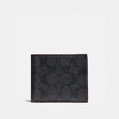 COACH COMPACT ID WALLET IN SIGNATURE CANVAS - BLACK/BLACK/OXBLOOD - F25519