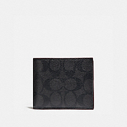 COACH COMPACT ID WALLET - BLACK/BLACK/OXBLOOD - F25519