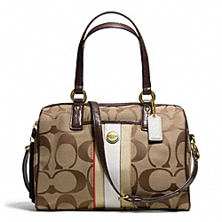 COACH SIGNATURE STRIPE MULTI STRIPE SATCHEL - BRASS/KHAKI/VERMILLION MTI - F25526