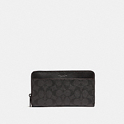 TRAVEL WALLET IN SIGNATURE CANVAS - BLACK/BLACK/OXBLOOD - COACH F25527
