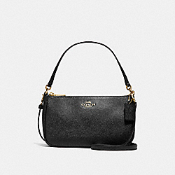 COACH TOP HANDLE POUCH - LIGHT GOLD/BLACK - F25591