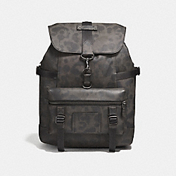 BLEECKER UTILITY BACKPACK WITH WILD BEAST PRINT - CHARCOAL/BLACK COPPER FINISH - COACH F25596