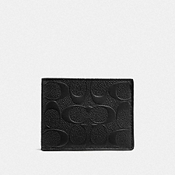 SLIM BILLFOLD WALLET IN SIGNATURE LEATHER - BLACK - COACH F25611