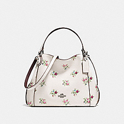 EDIE SHOULDER BAG 28 WITH CROSS STITCH FLORAL PRINT - f25620 - CHALK CROSS STITCH FLORAL/DARK GUNMETAL
