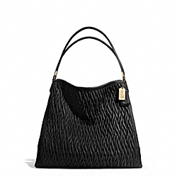 COACH MADISON LEATHER PHOEBE SHOULDER BAG - LIGHT GOLD/BLACK - F25627