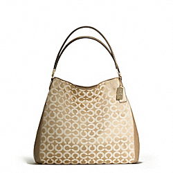 COACH MADISON OP ART SATEEN PHOEBE SHOULDER BAG - LIGHT GOLD/LIGHT GOLDGHT KHAKI/CHAMPAGNE - F25637
