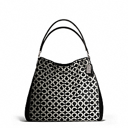 COACH MADISON OP ART SATEEN PHOEBE SHOULDER BAG - SILVER/BLACK/WHITE/BLACK - F25637
