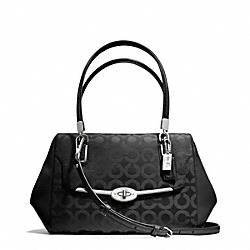 COACH MADISON OP ART SATEEN SMALL MADELINE EAST/WEST SATCHEL - SILVER/BLACK/BLACK - F25638