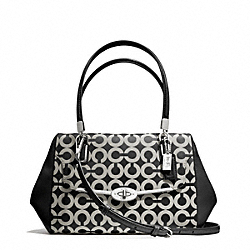 MADISON OP ART SATEEN SMALL MADELINE EAST/WEST SATCHEL - f25638 - SILVER/BLACK/WHITE/BLACK