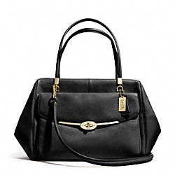 MADISON LEATHER LARGE MADELINE EAST/WEST SATCHEL - f25640 - LIGHT GOLD/BLACK