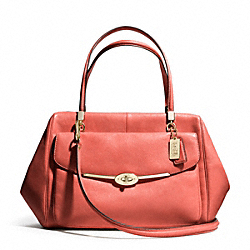 COACH MADISON LEATHER LARGE MADELINE EAST/WEST SATCHEL - LIGHT GOLD/VERMILLIGHT GOLDON - F25640