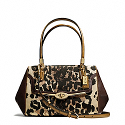COACH MADISON OCELOT PRINT SMALL MADELINE EAST/WEST SATCHEL - LIGHT GOLD/KHAKI - F25642