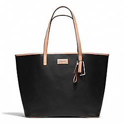 COACH PARK SAFFIANO LEATHER TOTE - SILVER/BLACK - F25652