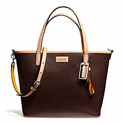 PARK METRO LEATHER SMALL TOTE - f25663 - SILVER/MAHOGANY