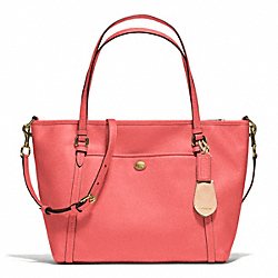 PEYTON LEATHER POCKET TOTE - f25667 - BRASS/CORAL