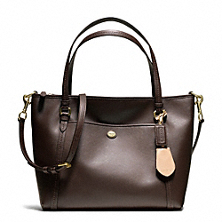 PEYTON LEATHER POCKET TOTE - f25667 - BRASS/MAHOGANY