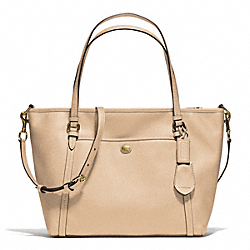 PEYTON LEATHER POCKET TOTE - f25667 - BRASS/SAND
