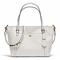 PEYTON LEATHER POCKET TOTE - f25667 - BRASS/WHITE
